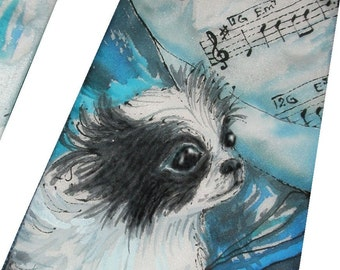 Custom made Silk Tie with your Pet. I will paint it on pure silk using your photos and hints. Hand painted tie, tie with dog, tie with cat