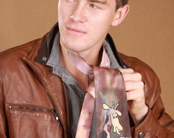 Kissing giraffes hand painted silk tie FREE tracked shipping worldwide