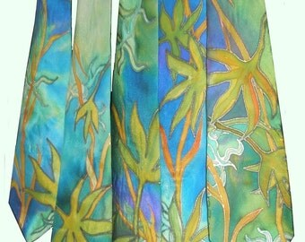 Tropical groomsmen ties. Five matching hand painted art silk ties in emerald green, turquoise blue and golden yellow.