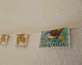 Yellow / green postage stamp minature bunting / garland with Australian wattle and bird OOAK