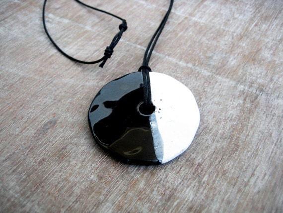 Black And White Ceramic Pendant, Circle  Pendant, Geometric Pendant,  Minimalist Jewelry