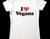 I Love (Heart) Vegans shirt - Soft Cotton T Shirts for Women, Men/Unisex, Kids