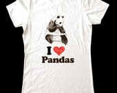 I Love (Heart) PANDAS - Soft Cotton T Shirts for Women, Men/Unisex, Kids