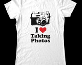 I Love (Heart) Taking Photos - Soft Cotton T Shirts for Women, Men/Unisex, Kids