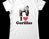 I Love (Heart) GORILLAS - Soft Cotton T Shirts for Women, Men/Unisex, Kids