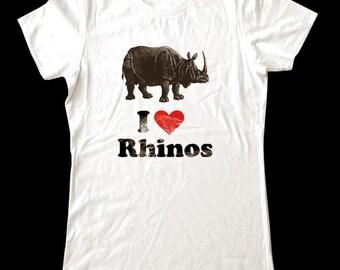 I Love (Heart) RHINOS - Soft Cotton T Shirts for Women, Men/Unisex, Kids