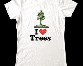 I Love (Heart) Trees shirt - Soft Cotton T Shirts for Women, Men/Unisex, Kids