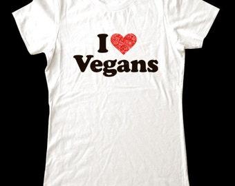 I Love (Heart) Vegans shirt - Soft Cotton T Shirts for Women, Men/Unisex, Kids
