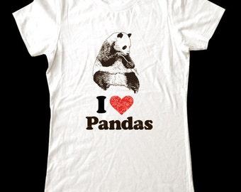 I Love (Heart) PANDAS - Soft Cotton T Shirts for Women, Men/Unisex, Kids