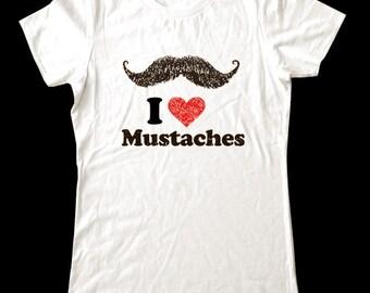 I Love (Heart) Mustaches - Soft Cotton T Shirts for Women, Men/Unisex, Kids