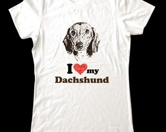 I Love (Heart) my Dachshund - Soft Cotton T Shirts for Women, Men/Unisex, Kids