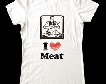 I Love (Heart) MEAT - Soft Cotton T Shirts for Women, Men/Unisex, Kids