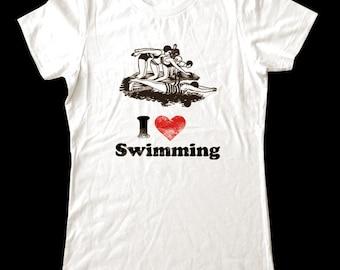 I Love (Heart) SWIMMING - Soft Cotton T Shirts for Women, Men/Unisex, Kids