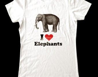 I Love (Heart) ELEPHANTS - Soft Cotton T Shirts for Women, Men/Unisex, Kids
