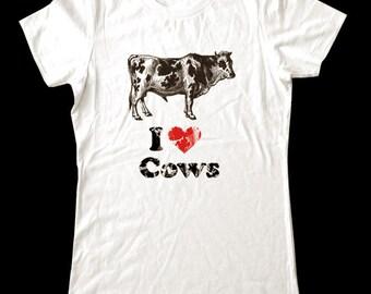 I Love (Heart) COWS - Soft Cotton T Shirts for Women, Men/Unisex, Kids