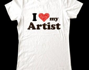I Love (Heart) my Artist shirt - Soft Cotton T Shirts for Women, Men/Unisex, Kids