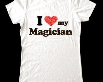 I Love (Heart) my Magician shirt - Soft Cotton T Shirts for Women, Men/Unisex, Kids