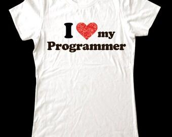 I Love (Heart) my Programmer shirt - Soft Cotton T Shirts for Women, Men/Unisex, Kids