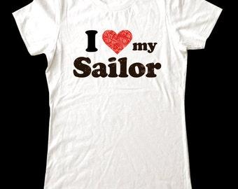I Love (Heart) my Sailor shirt - Soft Cotton T Shirts for Women, Men/Unisex, Kids