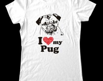 I Love (Heart) my Pug - Soft Cotton T Shirts for Women, Men/Unisex, Kids