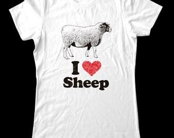 I Love (Heart) Sheep Tee Shirt - Soft Cotton T Shirts for Women, Men/Unisex, Kids