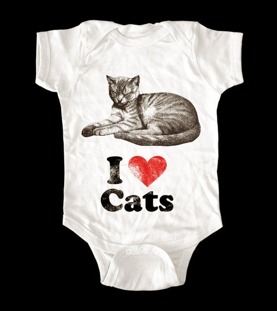 I Love (Heart) Cats One-Piece or shirt - Printed on Baby One-Piece, Toddler shirts