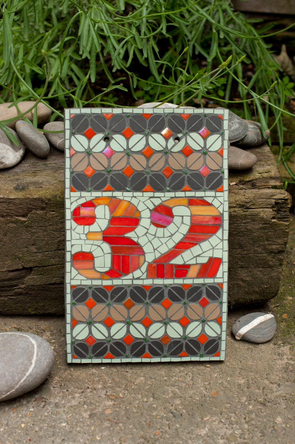 Mosaic House Number Template 1
