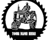 John Deere Tractor Sawblade with Man Personalized Sign