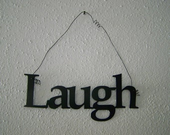 Inspirational Word LAUGH Wall Hanging Home Decor Metal