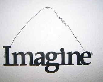 Inspirational Word IMAGINE Wall Hanging Home Decor Metal