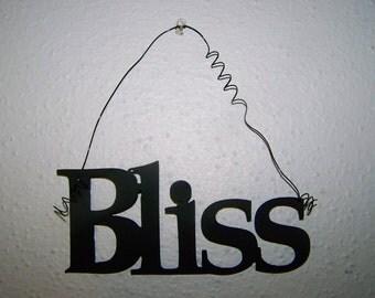 Inspirational Word BLISS Wall Hanging Home Decor Metal