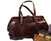 Old French LEATHER - DOCTOR BAG - Beautiful dark brown grain leather