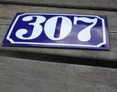Vintage FRENCH Blue ENAMELED metal house number 307