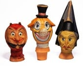 3 vintage french Marionnettes painted plastic HEADS 1960