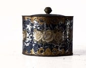 vintage French  TIN BOX with golden roses motif shabby chic