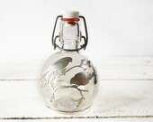 Lovely vintage LITTLE  french Glas BOTTLE with TIn BIRDS