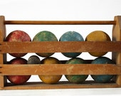 Lovely vintage wooden French BOULES PETANQUE SET