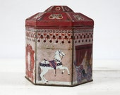 Old  french  Rosa - pink TIN BOX with Horses Shabby chic