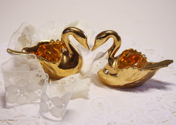 Two Beautiful little LIMOGES  GOLD porcelain SWANS