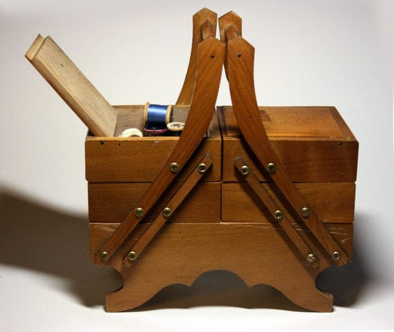 Lovely old french CHILD SEWING Wooden BOX - Old Toy - With its old haberdashery s accessories