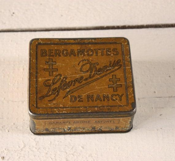 "Old little french vintage TIN BOX ""Bergamottes de Nancy"" Shabby chic"