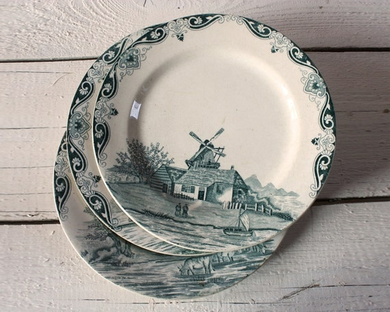Set of 3 very OLD Beautiful French Terre de fer Plates - Pattern DELFT  SHABBY Chic