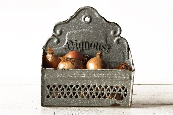 Lovely and very SHABBY CHIC grey  french enameled ONIONS dish -