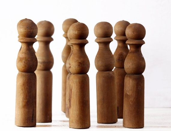 Lovely set of 9 old wooden bowling pins