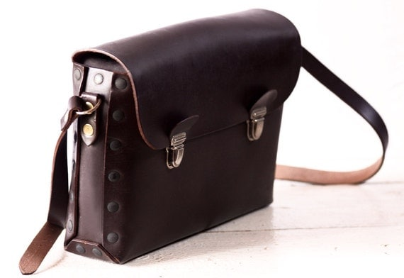 AMAZING OLD french real leather BAG - French National railway workbag - New Old Stock
