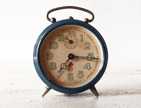 Vintage French SMI   BLUE Alarm CLOCK
