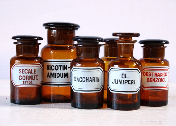 Set of 6 Antique  amber APOTHECARY Bottles with label