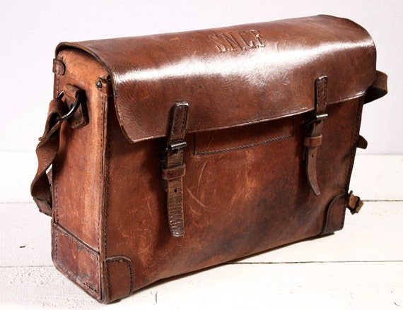 OLD french real leather BAG - French National railway workbag - Messenger bag  Shabby Chic
