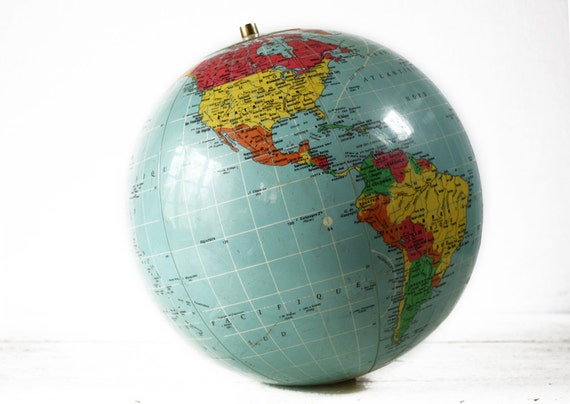 Vintage  french inflatable EARTH GLOBE  Sevylor 1966 - loft deco