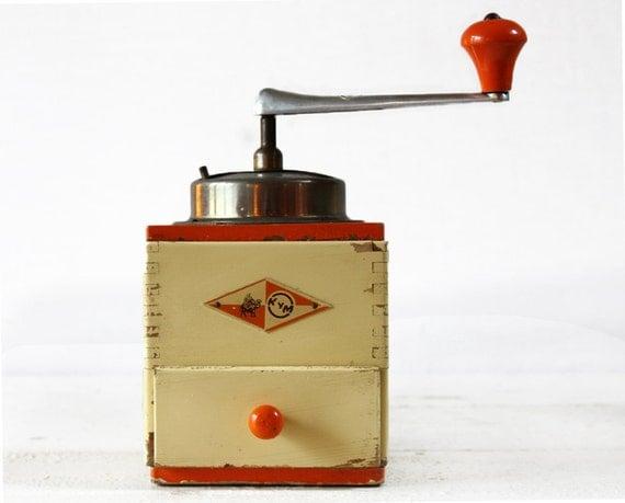 Lovely KYM  orange and cream Wooden German coffee grinder